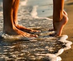 cute couple pic at the beach in the summer with our toes in the sand, this will happen...