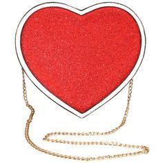 Heart Shoulder Bag (3.590 RUB) ❤ liked on Polyvore featuring bags, handbags, shoulder bags, heart shaped handbag, heart shaped purse, glitter shoulder bag, red heart purse and shoulder handbags