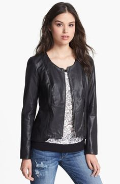 Scallop Trim Leather Jacket #NSale