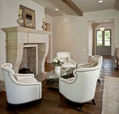 I love this fireplace seating arrangement!