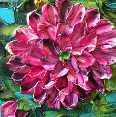 Oil Painting Impasto 6x6 oil Art on canvas Magenta Purple Dahlias  http://www.etsy.com/listing/111771227/oil-painting-impasto-6x6-oil-art-on