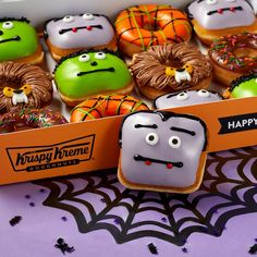 "Krispy Kreme Doughnuts on Instagram: ""This #Halloween, we're trading terrifying for #tasty with our all NEW #ScarySweet #MonsterDoughnuts! 👻🍩 Available NOW at participating…"" Vegan Doughnuts, Mini Doughnuts, Fall Breakfast, How To Make Breakfast, Krispy Kreme Doughnut, Tasty Bakery, Doughnut Shop, Vegan Treats"
