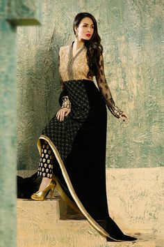 Malaika Arora Khan Black Georgette Net Embroidered Salwar Kameez