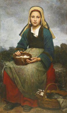 gentlewave:  Emile-Auguste Hublin: A Young Girl holding a Basket of Eggs (Une jeune fille tenant un panier d'oeufs), 1874, oil on canvas, 118 x 71cm, source: sothebys.com.