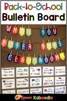 Do you want to welcome your new students at the beginning of the year with inspirational and motivational messages that will impact your classroom climate? This back to school poster set includes a variety of Welcome Bulletin Boards, Classroom Welcome, Back To School Bulletin Boards, Classroom Bulletin Boards, Preschool Classroom, Future Classroom, Classroom Decor, Classroom Design, Kindergarten Math