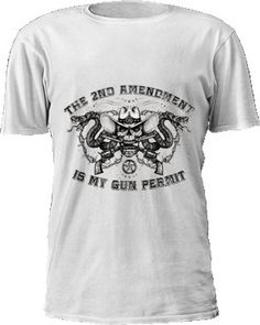 """New ... The 2nd Amendment is My Gun Permit"""" T-Shirt. The """"The 2nd Amendment is My Gun Permit"""" T-Shirt features a unique design. The design features a skull with cowboy hat. Vintage crossed revolvers in the skull's mouth with rattlenakes and barb wire on each side of the skull. Uniquely created text that states, """"The 2nd Ammendment is my gun permit.""""    Cotton-blend  Rich, vibrant colors  High quality print    * Your purchased item is being mailed to you. As such, it may come with wrinkles…"""