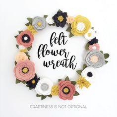 felt flower wreath – Craftiness Is Not Optional Felt Flower Wreaths, Felt Wreath, Paper Flowers Diy, Diy Wreath, Felt Flowers, Flower Crafts, Fabric Flowers, Felt Flower Diy, Zipper Flowers