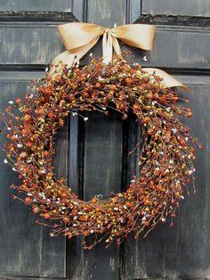 Rustic Door Decor   Pumpkin Berry Wreath  Fall by Designawreath, $49.95
