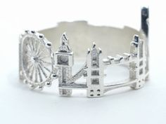 London Cityscape - Skyline Ring in Polished Silver