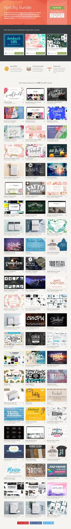 April Big Bundle #Spring into action with 72 incredible products at 96% off. Included are $1,229 worth of goods for only $39! ( #fonts #typeface #lettering #designers #freelancers #business #bloggers #photographers #agency #webdesign #wordpress #ecommerce #corporate #patterns #freebies #mockups #presentation #keynote #cv #vector #watercolor #artist )