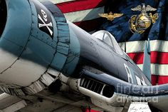 """""""An American USMC Corsair"""" by Tommy Anderson... however, I think the squadron insignia on the nose was only for VF-17 during WW2"""