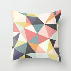 Want to start looking into getting a series of similar geometric cushions - Deco Tris Throw Pillow by Beth Thompson - $20.00