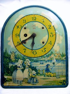 Vintage Metal Clock with Dutch Holland