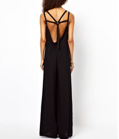 Black Strappy-Back Wide Leg Pants Jumpsuit
