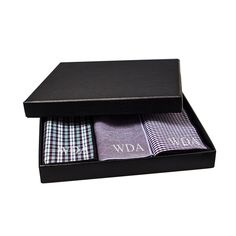 Personalized Pocket Square Gift Set - 3 Color Combinations