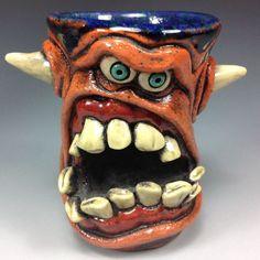 by WESLOW ANGRY ORANGE DEVIL FREAK FACE SHOT GLASS ORIGINAL ART JUG MUG ARTIST #Outsider
