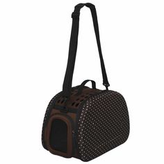 IRIS Polka Dot Folding Pet Carrier, Brown/White ** Click image for more details.