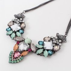 A gorgeous multi-hued gem statement necklace will dress up everything from a casual tee to a holiday cocktail dress!