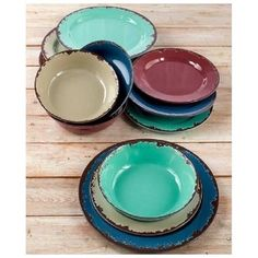 Colorful Rustic Melamine Dinnerware 12 Pc Set Garden Party Picnic Outdoor Dining #OutdoorLiving