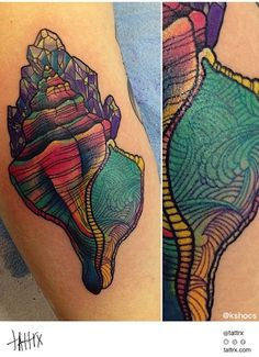 Colorful shell with crystals on it! :O Tattoo by - For Amy Seashell Tattoos, Ocean Tattoos, Up Tattoos, Future Tattoos, Cool Tattoos, Tatoos, Fish Scale Tattoo, Maritime Tattoo, Skin Art