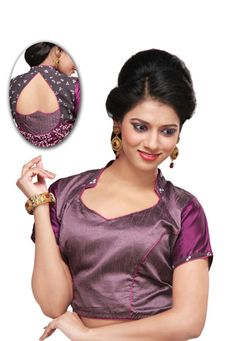Dark purple and grey dupion silk and faux crepe readymade blouse with bandhej print. Cotton is used as lining of blouse. (Slight variation in color is possible.) data-pin-do=