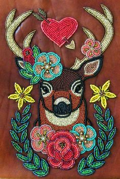 Hart by ~Theda-Blue on deviantART Native Beading Patterns, Beadwork Designs, Native Beadwork, Native American Beadwork, Indian Beadwork, Bead Embroidery Jewelry, Beaded Embroidery, Embroidery Patterns, Beaded Moccasins