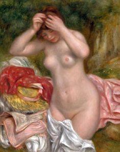 baigneuse arrangeant ses cheveux  par Pierre Auguste  Renoir