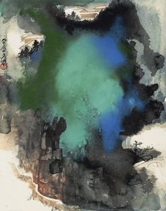 Zhang Daqian (Chang Dai-chien, 1899-1983) SUMMER MOUNTAINS signed DAQIAN JUSHI YUAN, dated with a seal, yi si, 1965, and with two seals of the artist splashed ink and colour on cardboard, framed 40.5 BY 31 CM. 16 BY 12 1/4 IN. 張大千 (1899-1983) 夏山聳翠 潑墨潑彩紙卡 鏡框 一九六五年作 款識: 大千居士爰。  鈐印:「大千」、「乙巳」。