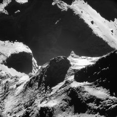 This single-frame Rosetta navigation camera image of Comet 67P/Churyumov-Gerasimenko was taken on October 19, 2014, at a distance of approximately 4.9 miles (7.9 km) from the comet's surface and released on May 28. The image looks across the neck from the comet%u2019s small lobe in the foreground to the large lobe in the background. Parts of the Anuket and Serqet regions are visible in the foreground and a portion of Hapi is present at center left, with the dramatic cliff edge in Seth in the…