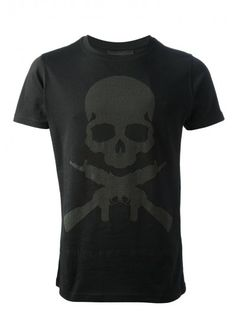 Philipp Plein - 'Son of Gun' T-Shirt Black | Black cotton T-shirt from Philipp Plein featuring a round neck, short sleeves, a straight hem, a skull and crossed gun print to the front and a logo plaque and 'Son of a Gun' print to the rear.