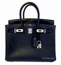 NEW 25cm COLLECTORS' Hermes Indigo Blue Bleu Barenia Bag Birkin PHW