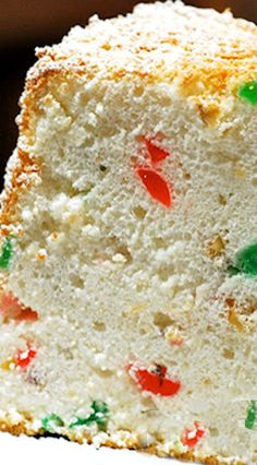 Holiday Angel Cake ... A festive angel food cake that's easy to make, with flavors of hazelnut, almond and cherry.