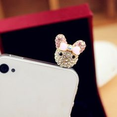 Sweet Rhinestone and Bowknot Decorated Tinny Mouse Shape Cellphone Dustproof Plug For Women