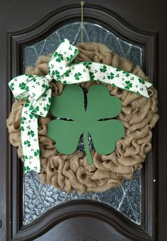 St. Patricks Day Wreath, St Patrick Wreath, Burlap St Patricks Day Wreath, Shamrock Wreath, Spring Wreath, Rustic Irish Wreath, Wreath by GrapevineandBurlap on Etsy https://www.etsy.com/listing/221859512/st-patricks-day-wreath-st-patrick-wreath