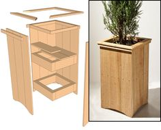Planter Project Plan Free Outdoor Cedar Planter Plan from Woodworker's Journal, a good weekend project (easily done in a day).Free Outdoor Cedar Planter Plan from Woodworker's Journal, a good weekend project (easily done in a day). Tall Wooden Planters, Tall Planter Boxes, Tall Outdoor Planters, Cedar Planter Box, Wood Planter Box, Patio Planters, Backyard Patio, Easy Wood Projects, Planer