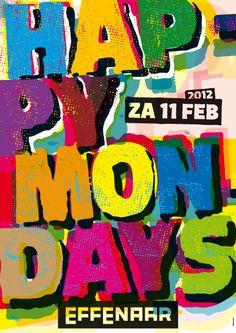 Space3 poster design for the Happy Mondays, Effenaar Eindhoven.