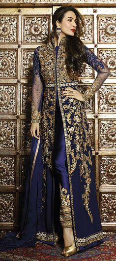 458325 Blue color family Bollywood Salwar Kameez in Faux Georgette fabric with Lace,Machine Embroidery,Stone,Thread work . Indian Suits, Indian Attire, Indian Dresses, Indian Wear, Punjabi Suits, Kurta Designs, Designer Salwar Kameez, Salwar Kurta, Designer Sarees