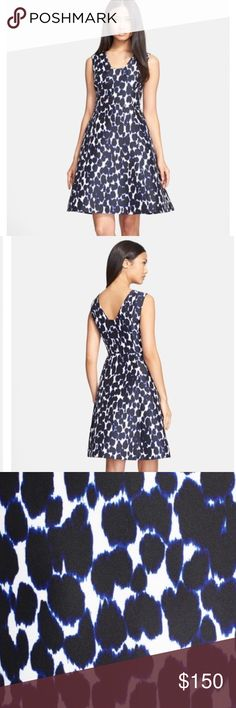 "Kate Spade Leopard Fit & Flare Dress SOLD OUT in stores!! A chic, square neckline has a face-framing effect on a polished fit-and-flare dress colored in a flirtatious big-cat print delineated in indigo blue. 38"" length (size 6). NWT!! Side-zip closure. Lined. 100% polyester. Dry clean. kate spade Dresses Midi"