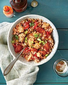 Wednesday: Chicken and Sausage Jambalaya - Half-Way Through Our Month of Simple Suppers Challenge - Southernliving. Recipe: Chicken and Sausage Jambalaya Kick up the heat and serve this Big Easy favorite with hot sauce on the side. Freezable Meals, Freezer Meals, Freezer Recipes, Freezer Cooking, Batch Cooking, One Dish Dinners, One Pot Meals, Easy Dinners, Chicken And Sausage Jambalaya