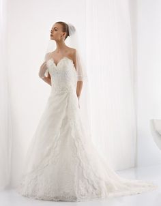 Sweetheart Chiffon and Lace Ruffled Bridal Gown $248 Strapless Wedding Dresses