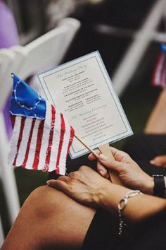 Patriotic military wedding details. Pass out american glags or mini marine corp flags!!!