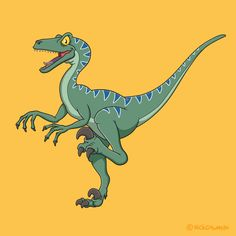 A speedy cartoon velociraptor