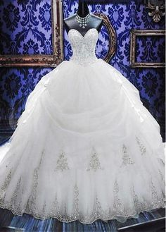 Elegant White Sweetheart Crystal Ball Gown Wedding Dress Court Train Bowknot Bridal Gowns with Beadings,35