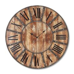 24 in. Metal and Wood Clock | Find it at the Foundary