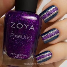 Zoya PixieDust Carter and Tomoko with Smitten Polish Bifrost Freehand Nail Art - Manicurator