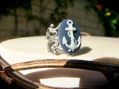 Nautical Anchor Cameo Ring Navy Blue & White Cabochon by chewlry, $13.95