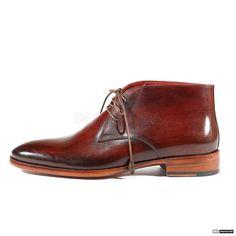 Paul Parkman Handmade Mens Shoes Chukka Hand-Painted Brown / Bordeaux Boots (PM1009)