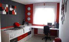 Red grey white bedroom