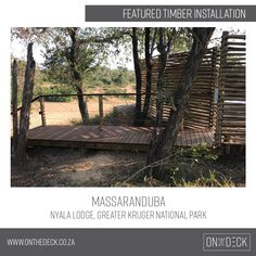 Massaranduba is a South American hardwood which is a very durable and hardwearing timber. It works very well as an outdoor decking material as it is rated highly against rot and insect attack. Decking Material, Timber Deck, Kruger National Park, Outdoor Furniture, Outdoor Decor, Hardwood, Plants, Home Decor, Natural Wood