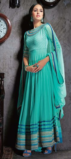 417239: Green color family unstitched Anarkali Suits.